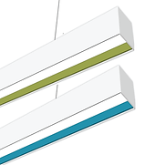 This sleek linear fixture features a recessed lens surrounded by a colored baffle, which can be custom-colored. Available in 2-foot and 4-foot lengths, it can be connected together into multiple shapes. The fixture can be surface mounted, or suspended.