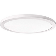 """This 12"""" round fixture is only 1/2 inch thick, making it ideal for low ceilings and minimalists. It can be used indoors and outdoors in locations such as bathrooms, kitchens, porches, patios, and soffits."""