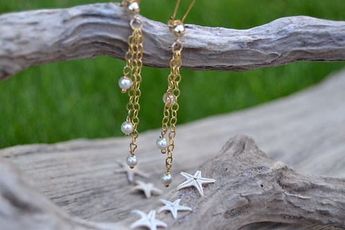 Gold Waterfall Pearl Earrings