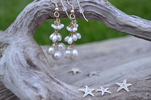 Pearl Cluster Gold Drop Earrings