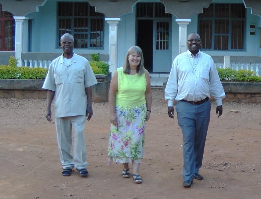 Jenny Smyth with Bishops John and Aimé Joseph in Burundi