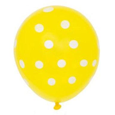 "Balloon Latex 12"" Dots Yellow 6"