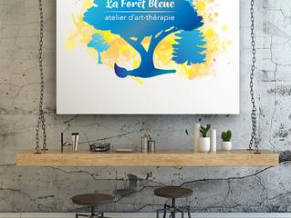 Atelier d'art-thérapie la Forêt Bleue: création logo et ligne graphique