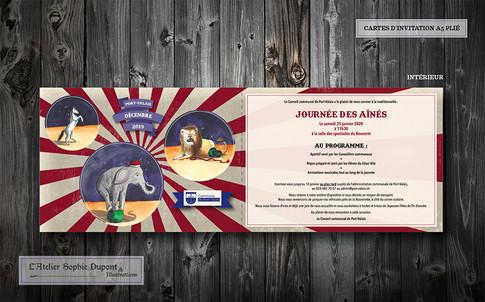Carte d'invitation A5 pliée en deux - face intérieure