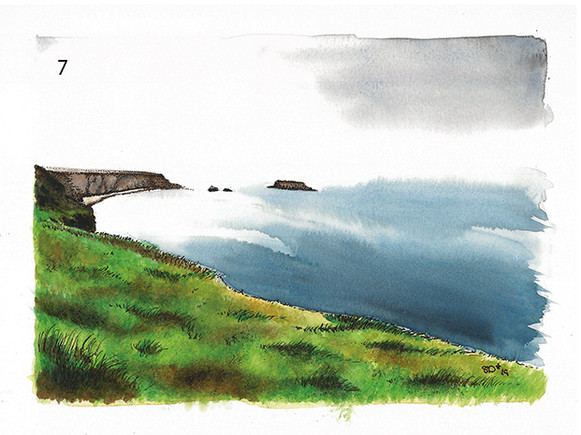 View from Carrick-a-Rede on cloudy day
