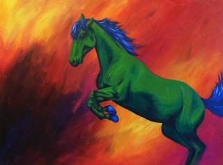 Green Horse on Fire Field