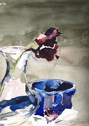 Rose and Blue Dish
