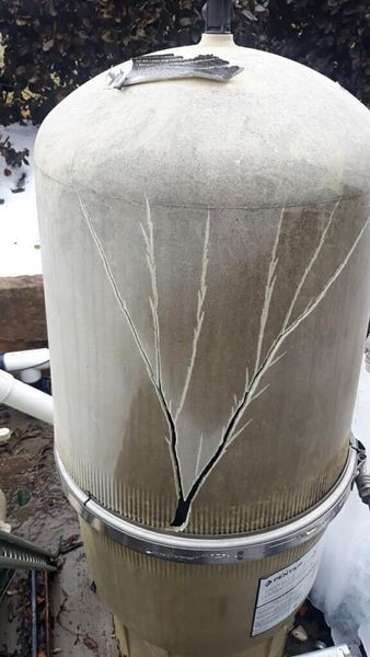 cracked filter from freezing weather