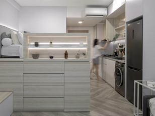 Pequeno apartamento elimina paredes para total integração