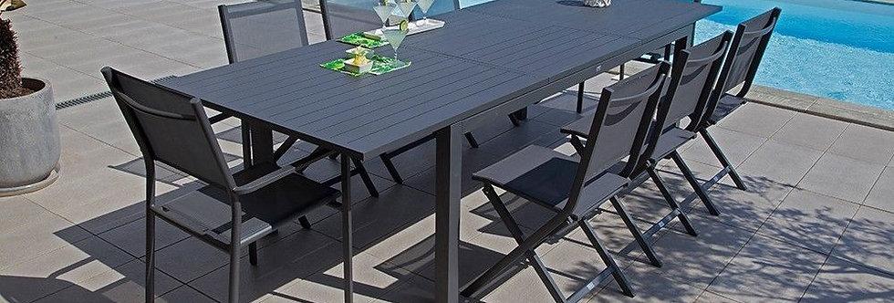 Table 'Alumii 280 gris' (sans les chaises Théma gris)