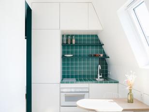 Pequeno apartamento com toques de verde