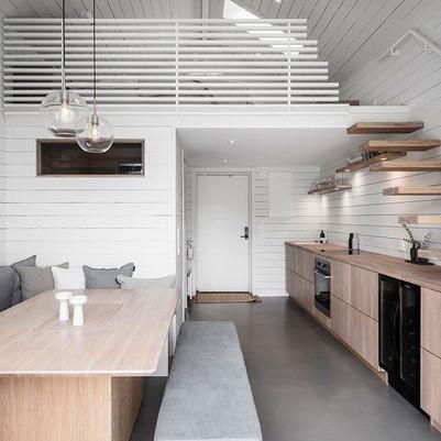Pequena casa em que cabe até a sauna