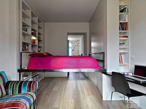 Cama suspensa otimiza apartamento de 31 m²