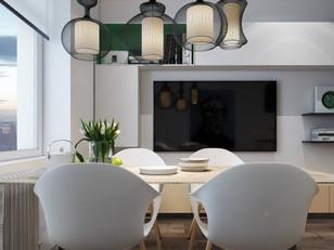 Mesa de refeições é o centro deste apartamento