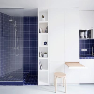 Mini apartamento com toques de azul