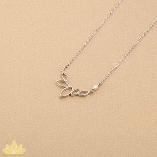 P006 - Silver Lotus Bloom with Pearl Pendant