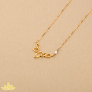 P008 - Gold Lotus Bloom with Pearl Pendant