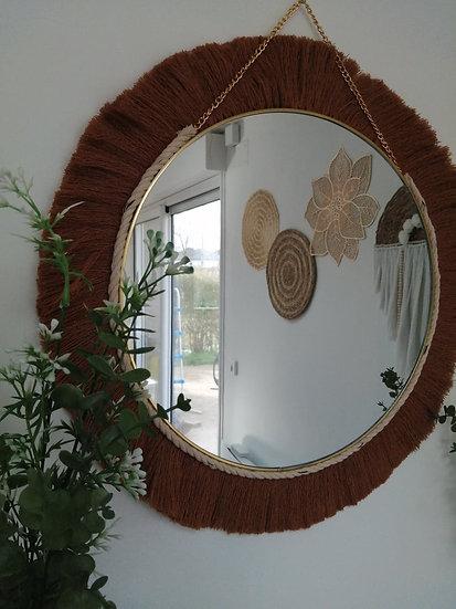 Miroir rond coton Brun - OLY