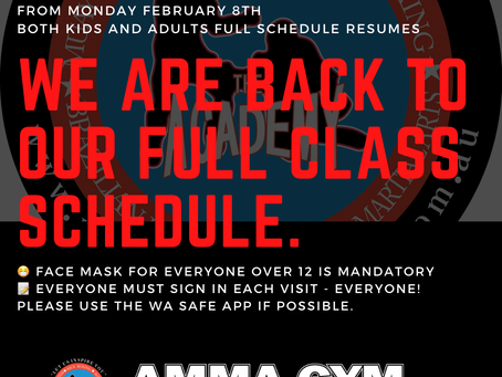 All Classes are back to our full schedule. Kids & Adults.