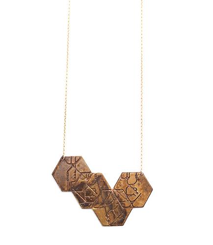 4 Hexagon Necklace - Blackened Brass