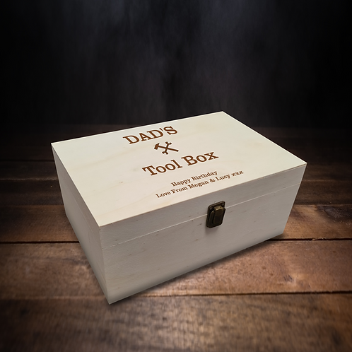 Personalised Large Wooden Box - DAD'S Tool Box