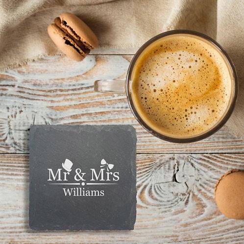 Personalised Slate Coaster - Mr & Mrs
