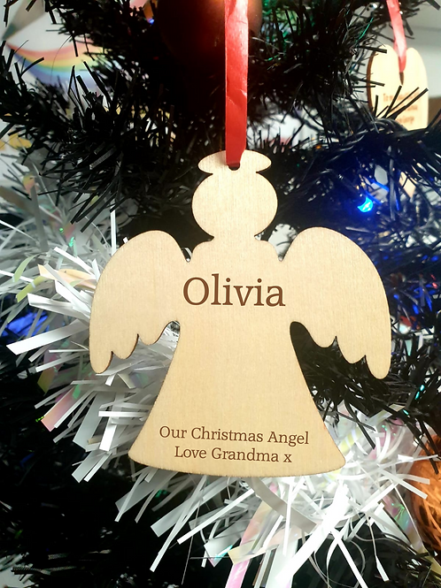 Personalised Wooden Decoration - Angel - Name & Message