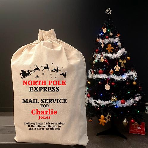Personalised  Christmas Sack - Santa with Reindeers