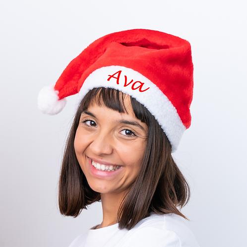 Personalised Red Santa Christmas Hat - Red Name