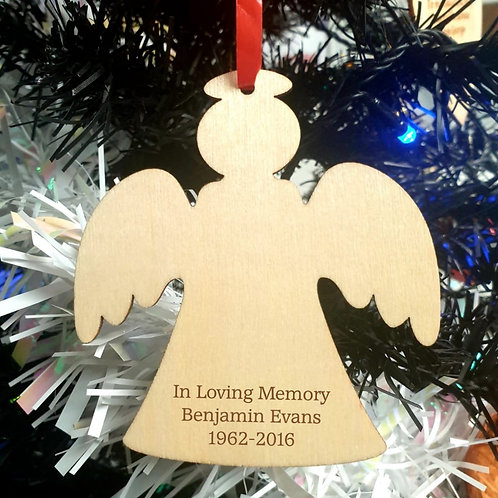 Personalised Wooden Decoration - Angel - In Loving Memory
