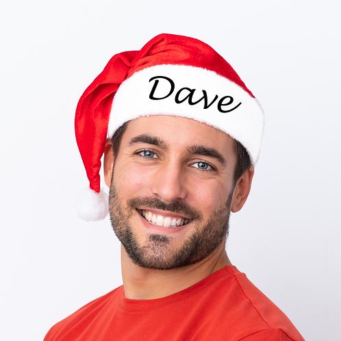Personalised Red Santa Christmas Hat - Black Name