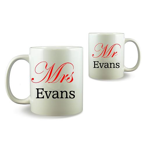 Personalised Mug Set - Mrs & Mr