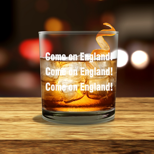 Personalised  Whisky Glass - Come on England!