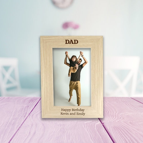 Personalised Wooden Photo Frame - Dad