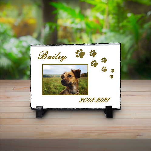 Personalised Your Photo & Text Stone Slate -  Memorial Plaque For Pet Dog Cat