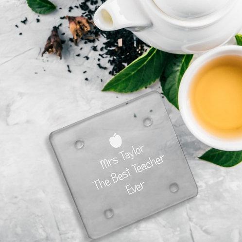 Personalised Glass Coaster - Teacher's Apple