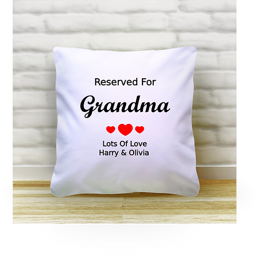 Personalised Cushion Cover - Reserved For Grandma