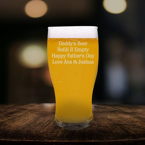 Personalised  Beer Glass - Message