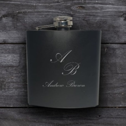 Personalised Black Hip Flask - Classic
