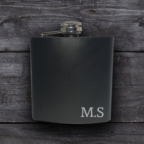 Personalised Black Hip Flask - Initial