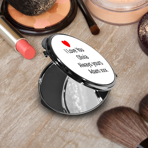 Personalised Round Compact Mirror - Heart & Message