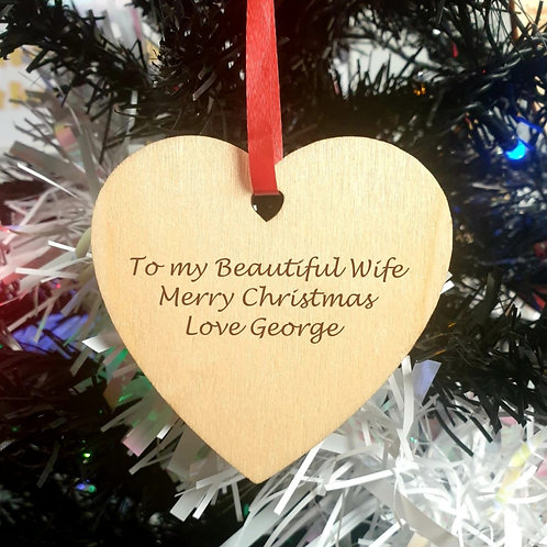 Personalised Wooden Decoration - Heart - Message
