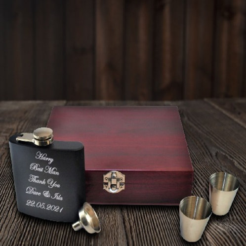 Personalised Black Hip Flask and Luxury Wooden Box