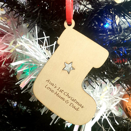 Personalised Wooden Decoration - Stocking - Message