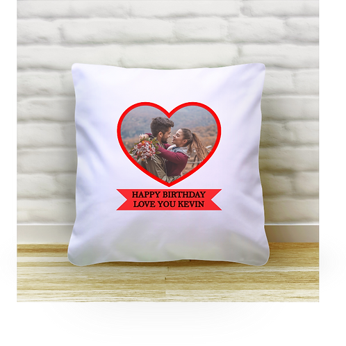 Personalised Cushion Cover - Heart & Ribbon