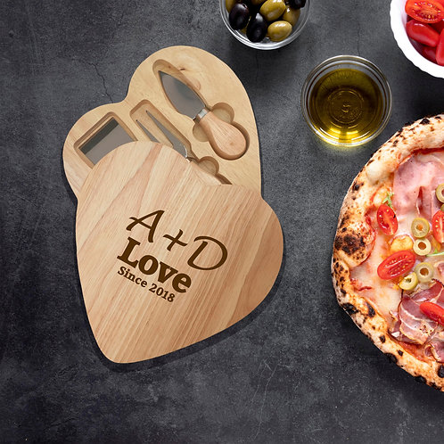 Personalised Heart Cheese board - Love Initials