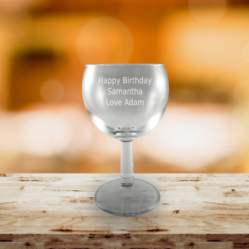 Personalised Goblet White Wine Glass - Message