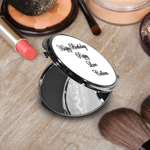 Personalised Round Compact Mirror - Message