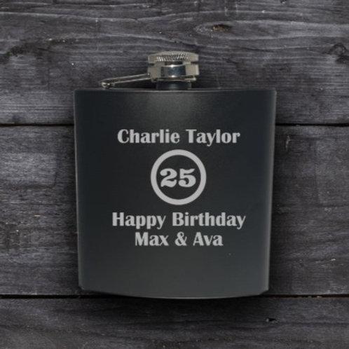 Personalised Black Hip Flask - Birthday
