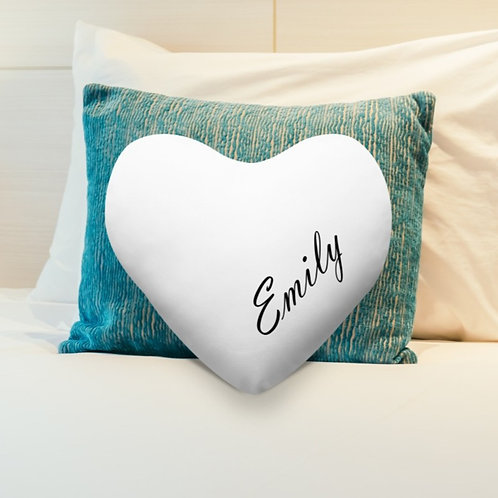 Personalised Heart Shaped Cushion Cover - Name